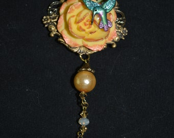 24 in chain necklace yellow rose hummingbird hand painted