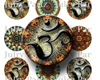OM Marrakech Circles, Healing Mandalas, 1x1 Circle Images,  Printable Digital Images, Cards, Gift Tags, Scrabble Tiles, Magnets
