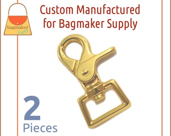 3/4 Inch Heavy Trigger Style Swivel Snap Hooks, Gold Finish, 2 Pack, Purse Handbag Bag Making Hardware, SNP-AA156