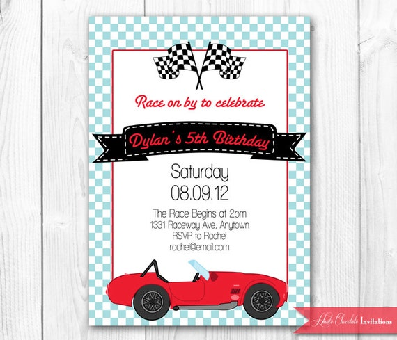 Items Similar To Vintage Race Car Birthday Invitation