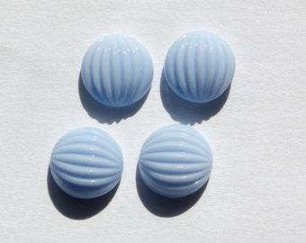 Vintage Periwinkle Blue Melon Glass Cabochons 11mm cab703FF