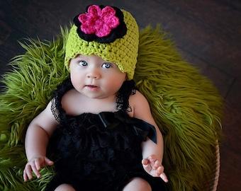 Newborn Baby Girl Hat Newborn Girl Hat Lime Green Baby Hat Black Hot Pink Crochet Flower Hat Flapper Beanie Baby Girl Clothes Photo Prop