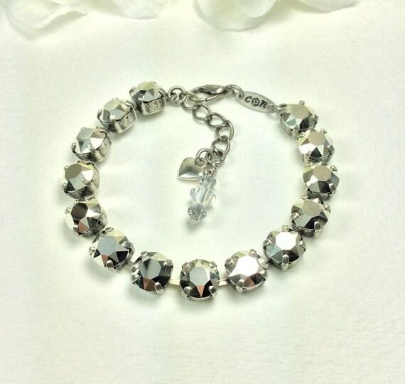 Swarovski Crystal 8.5mm Bracelet  -  Radiant Silvery Comet Argent Light - Designer Inspired - FREE SHIPPING