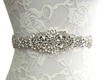 Luxury Rhinestone Bridal Sash Belt Satin Ribbon Wedding Dress Ivory / white