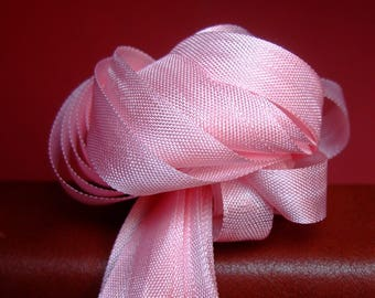 10 m Pink Ribbon * 1.3 cm * viscose - old stock of French manufacturing