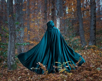 Velvet cape green hooded cloak, medieval elven fantasy costume cape with hood