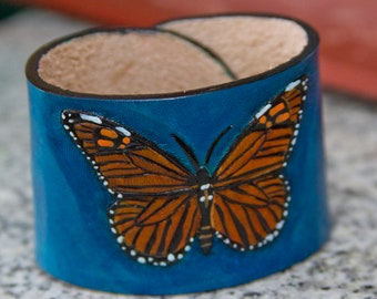 Hand Tooled Monarch Butterfly Cuff