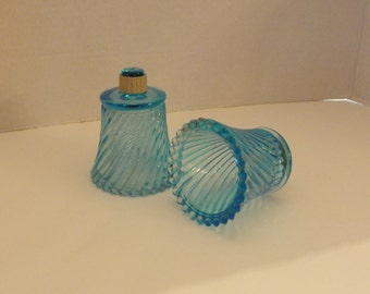 Pair of Aqua Blue Glass Votive Candle Cup Holders