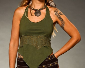 Halter Neck Tie Top - burning man top - woman clothing - Tops & Tees