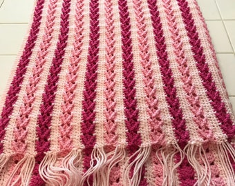 Twin size pink Afghan
