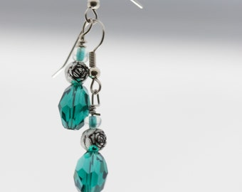 Teal and Rose Earrings