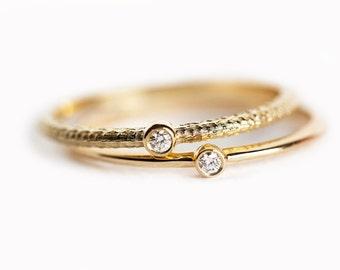 Delicate Diamond Ring, Wedding Ring Set, Diamond Ring Set, Modern Engagement Ring, 14k GOLD