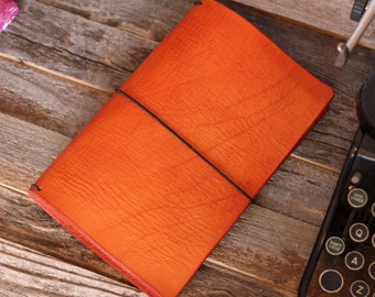 Leather Travelers Notebook - Leather Quill Shoppe - 13 Sizes - Leather Journal - Orange Leather- Holiday Gift - FREE USA SHIPPING