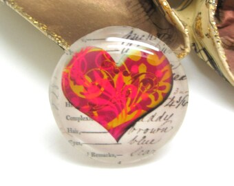 1 cabochon 25 mm glass Vintage Fuschia and gold - 25 mm heart