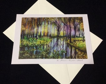 Trees in the Mist - a fine art greeting card.