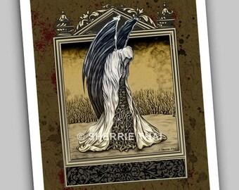 Gothic Surrealism Grim Tidings Reaper Figure with Wings Fine Art Print