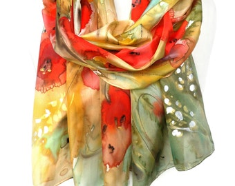 Poppies Scarf. Hand Painted Scarf. Silk Scarf. Birthday Gift. Red Floral Woman Shawl. Echarpe Foulard Soie. 18x71in MADE to ORDER