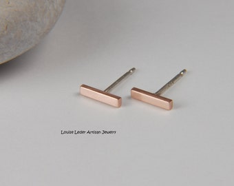 Rose Gold Earrings Solid Rose Gold Bar Earrings Minimalist Gold Earrings 14K Rose Gold Studs Rose Gold Jewelry