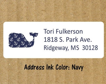 Whale Address Labels, 90 Labels, Navy Anchor, Whale Return Address Labels, Preppy Whale Address Labels, Return Address Labels, Whale Labels