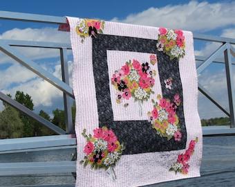 Applique Quilt - Vintage Fabric Quilt - Raw Edge Applique - Pink and Black Quilt - Vera - Glamper Quilt - Free Shipping - 5TTT16