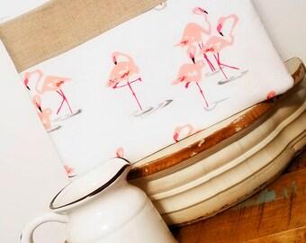 iPad Case, iPad Mini Case, Ipad Air Case, Samsung Tablet Case, Flamingo ipad case, linen ipad case, Zipper Tablet Case in Flirty Flamingo