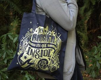 Doctor Who Tote Bag  | Bigger On The Inside TARDIS Bag | Hand Screen Printed | TARDIS Blue Cotton Gallifreyan Bag with Metallic Gold Ink