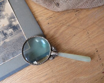 Vintage Quartz Handled Ornate Magnifying Glass