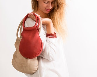 Sale!!!  Mini Bag, Distressed Red Mini Leather Bag, Mini purse