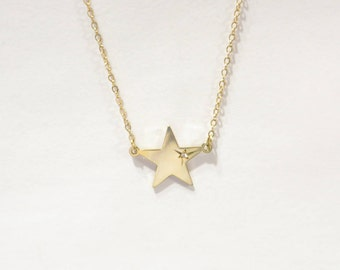 Vintage Dane Craft 1/20 12k Gold Children's Star Diamond Necklace