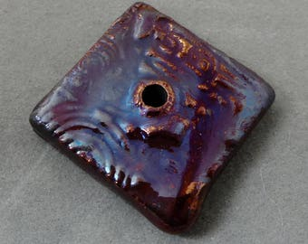 Square 1-hole handmade Raku Button