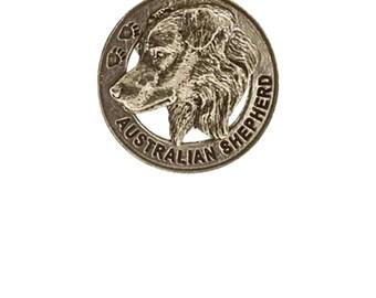 Pewter ~ Australian Shepherd Keychain ~ DK016