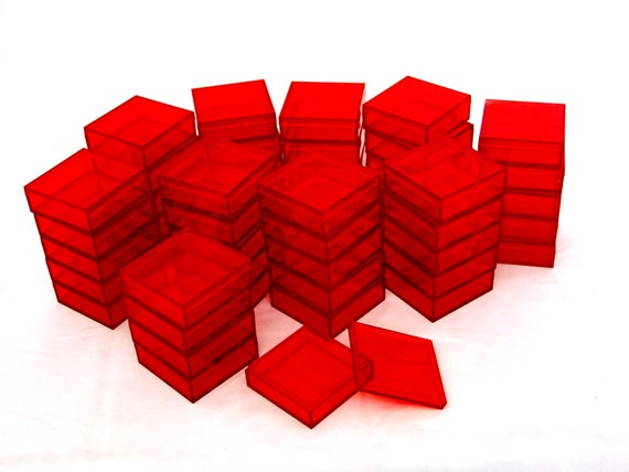 2 By 2 Inch Square Acrylic BeadGem Storage Boxes 50 QTY Red