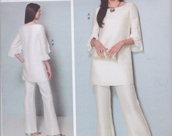 Vogue Designer Original Pattern V1538 Nicola Finetti Jumpsuit With Knit Bodice and Pullover Tunic With Ruffled Sleeves Misses' Sizes 14 - 22