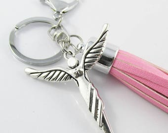 Guardian Angel Charm Keychain Keyring with Pink PU Tassel 150mm