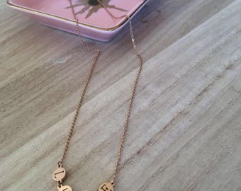 """LOVE"" Necklace-pink gold Color"