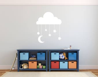 Custom Removable Cloud and Stars Wall Decal **Free Domestic Shipping**