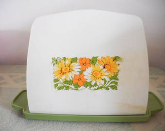 Vintage 1960s to 1970s Retro Green and White Plastic Napkin Holder with Orange and Yellow Flowers Kitchen Table Dining