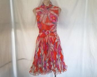 Vintage 1960's Jack Bryan Pleated Chiffon Party Dress Floral Big Bow Rhinestone Belt   misses sz XS - S  2 or 4