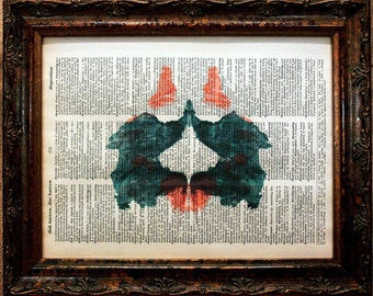 Rorschach Ink Blot 2 Art Print on Dictionary Book Page