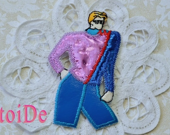 Vintage Model Dancer -  Embroidered iron on applique, patch - 80's