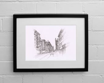 San Francisco Print, California Wall Art, San Francisco Drawing, San Francisco Street, San Francisco Art, Sketch Print, Drawing Print