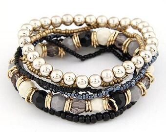 Beautiful multi strand black gold expandable Bracelet