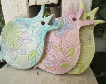 Three Pastel Lace Ceramic Pomegranates Israel Biblical Wall Hanging Tiles