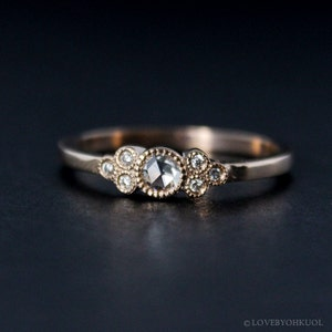Rose Cut Diamond Engagement Ring - Hand Milgrain - Vintage Inspired - 14kt Rose Gold