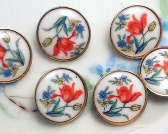 Vintage Glass buttons Japan Japanese Button Flowers Limoges One of kind Rare Floral Perennial. #924