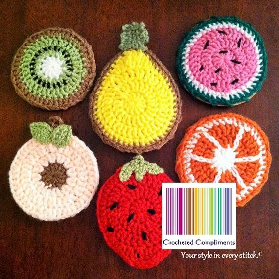 Crochet Fruit Coasters Pattern Only