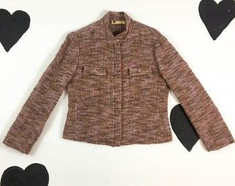 90's pink orange wool mohair boucle knit moto jacket / 1990's y2k cyber minimal peach zip up motocross tweed jacket / made in Italy / size M