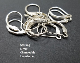 1 Pair Sterling Silver Leverback Earring, Changeable, 925