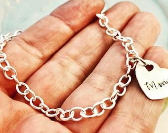 Personalized ~ Sterling Silver ~ ID Name ~ Link Chain Bracelet ~ Custom Family Keepsake Bracelet ~ Grandmother Jewelry ~ Mimi Charm