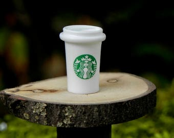 Miniature Starbucks Coffee Cup, Fairy Garden Accessories, miniature cup of coffee, dollhouse miniature, terrarium supply, craft supplies
